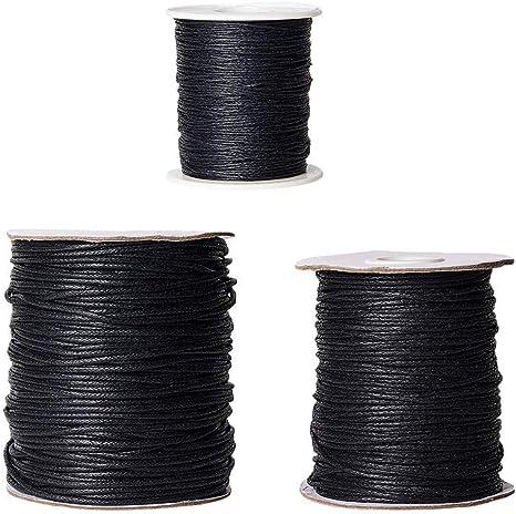 PandaHall - 3 Rollos de Cuerda de algodón Encerada de 1 mm / 1,5 ...