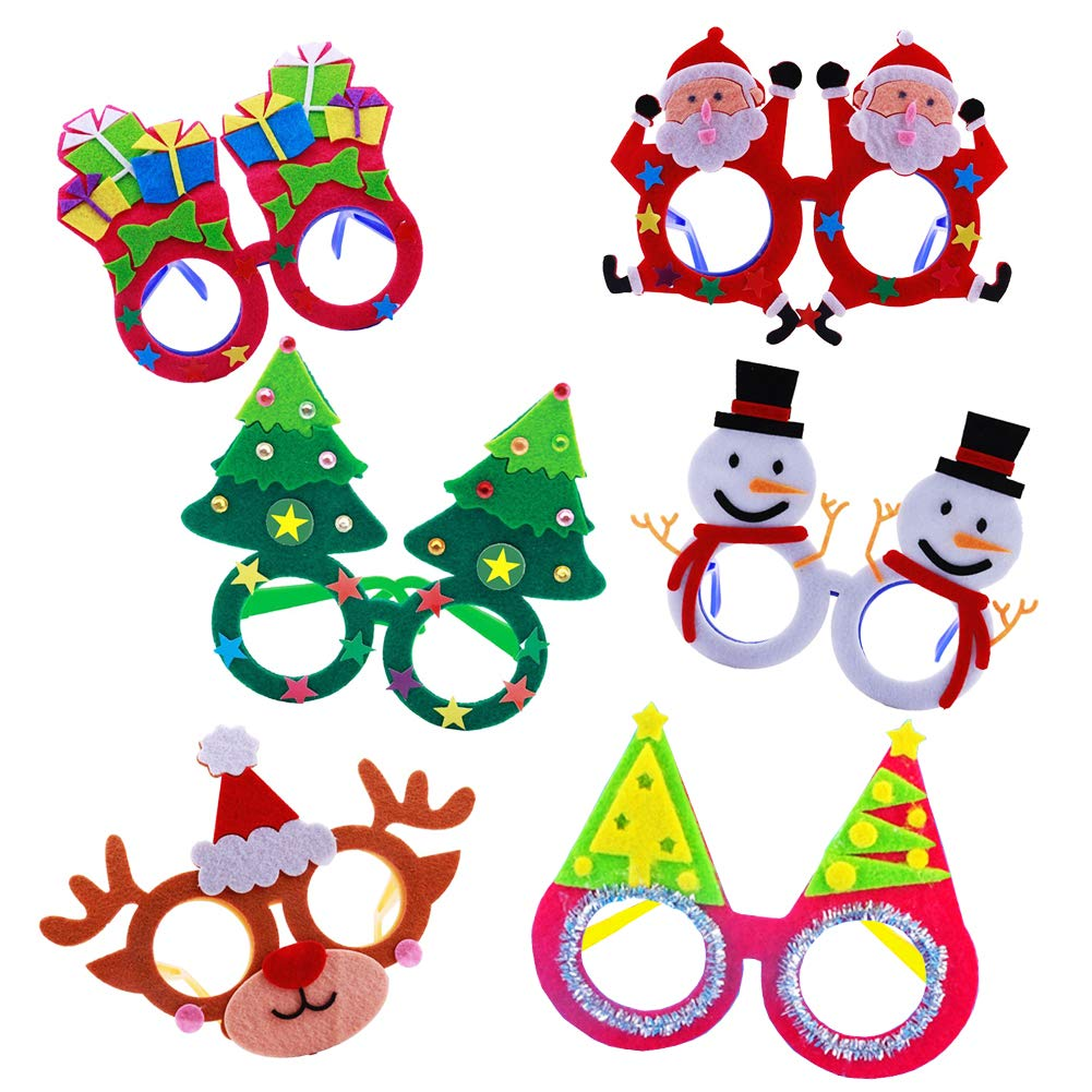 Christmas Costume Party Fancy Eyeglasses Frames 6 Pack DIY Felt Dress up Craft Kits Xmas Photo Booth Props for Kids Xmas New Years Holiday Party Favor Gifts