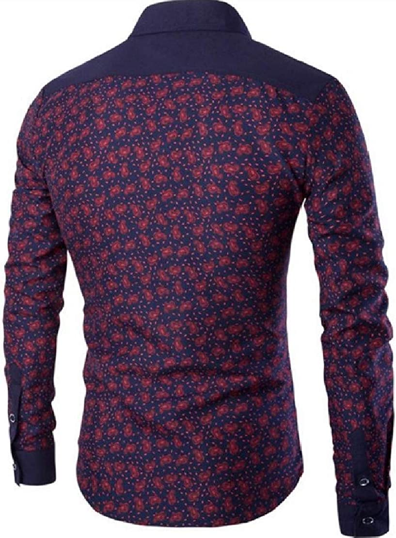 Wofupowga Men Colorblock Print Long Sleeve Turn Down Button Front Shirts