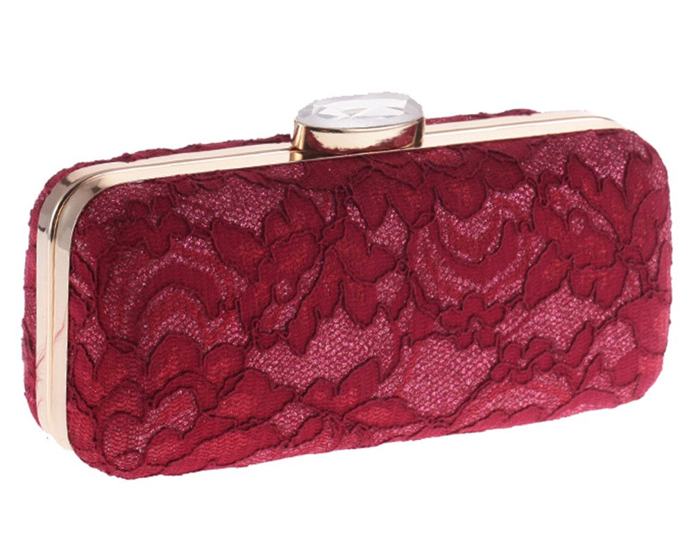 Women's Floral Lace Cover Evening Bag Chain Prom Bridal Clutch Vintage Style(Wine)