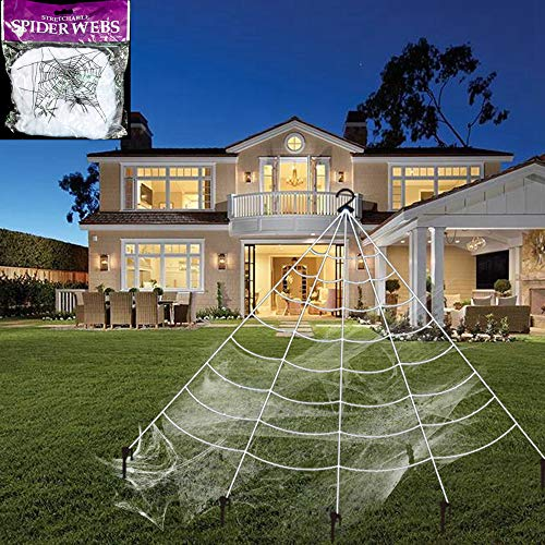 (FUNISFUN Fan Shaped Giant Spider Web Stretch Cobweb Set with Ground Stakes Gutter Bracket, Halloween Decor Decorations Outdoor Yard, White (16.4 x 15.7)