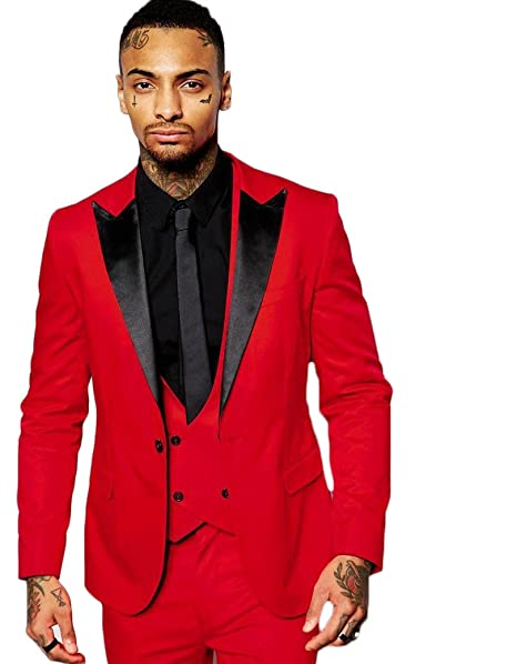 AK Beauty Mens Three Piece Wedding Prom Formal Suit (Jacket ...