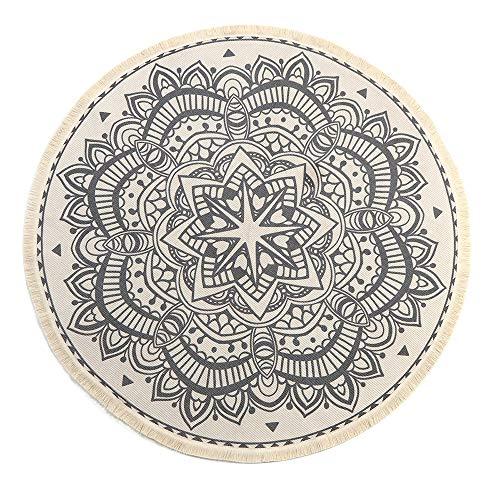 LEEVAN Round Area Rug,Hand Woven Cream Chic Bohemian Mandala Print Tassels Door Mat,Indoor Floor Area Mat Compatible Bedroom,Living Room,Children Playroom,Black, 4' Diameter (Circular Carpet)