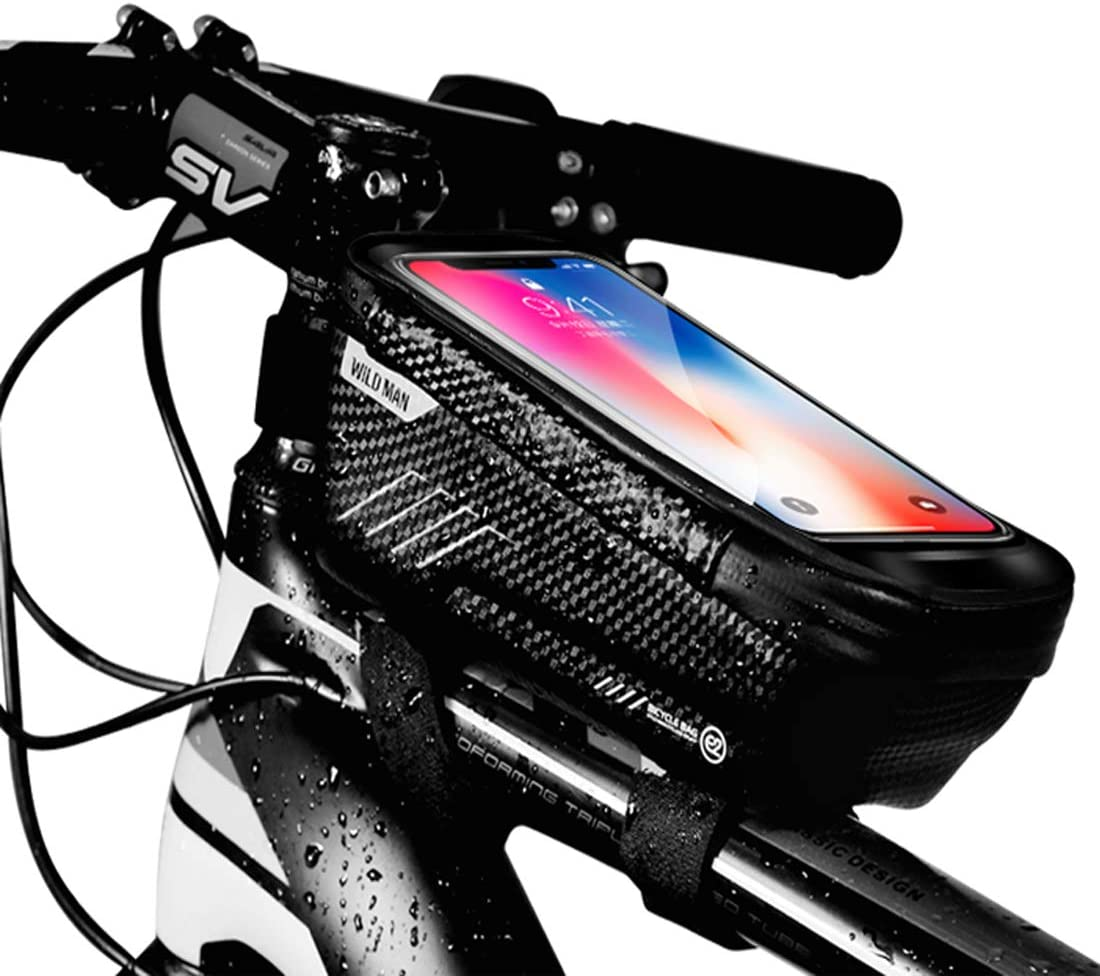 Bike Frame Bag, Bicycle Phone Mount, Waterproof Cycling Front Top Tube Pouch Bike Frame Phone Holder Pannier Crossbar Storage Bags for iPhone 11 Pro MAX XS MAX XR X 8 7 6S Plus Smartphones Below 6.5''