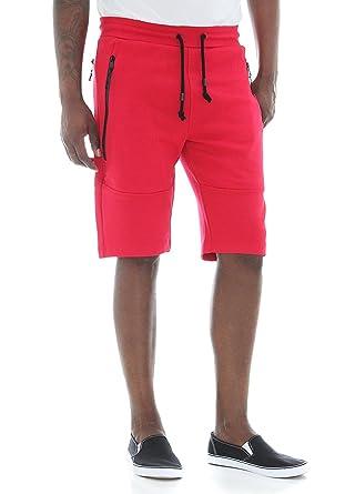 d353a02e719 Jordan Craig Men's Rainstop Zipper Pockets Tech Fleece Shorts-Red-XL