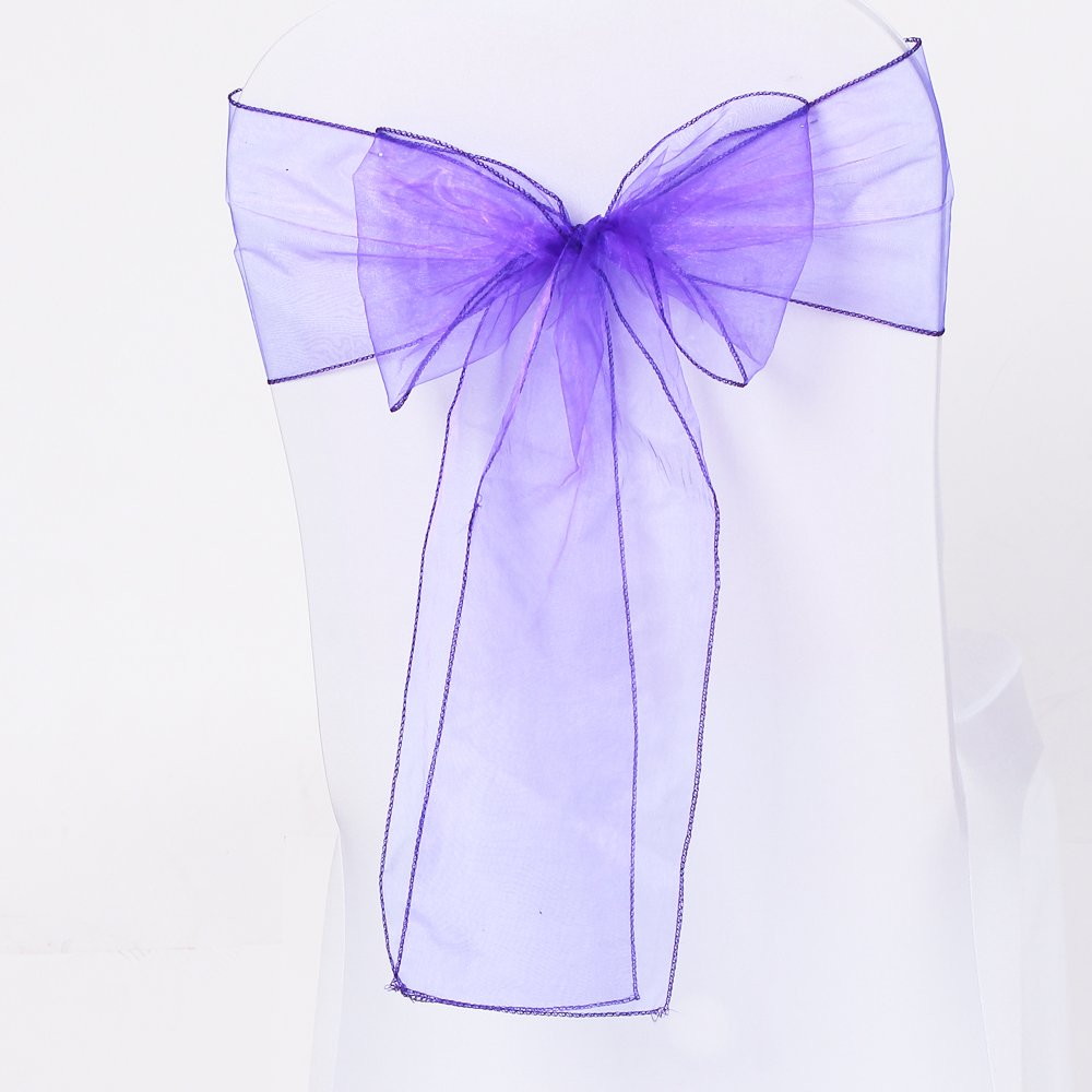 Meijuner 25pcs Chair Sashes Organza Sashes Chair Bow For Wedding Party Birthday Chair Decoration 25 Colors Available (Dark Purple)