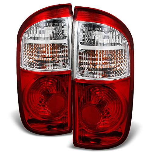 For Toyota Tundra 4 Door Double Cab Pickup Truck Red Clear Tail Lights Replacement Left + Right Pair Set