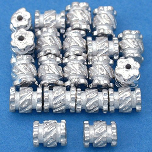 Beads Silver Plt Beading (15g Bali Tube Beads Silver Plt Beading 6.5mm Approx 20)