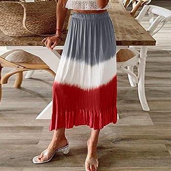 Falda de Rayas Blancas y Rojas para Mujer Falda Larga de Playa de ...
