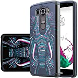 LG V10 Case, [Shock Absorption / Impact Resistant] Hybrid Dual Layer Armor Defender Protective Case Cover for LG V10, LG V10 Tribal Elephant Case