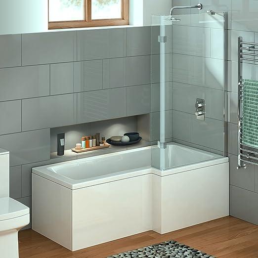 virpol 1700 mm forma de L ducha bañera con mampara de ducha, junta ...