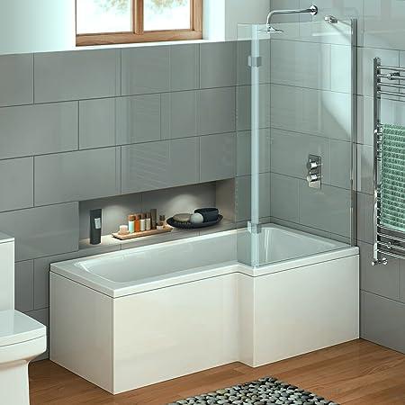 virpol 1700 mm forma de L ducha bañera con mampara de ducha, junta de goma y panel frontal, color blanco, Izquierda: Amazon.es: Hogar