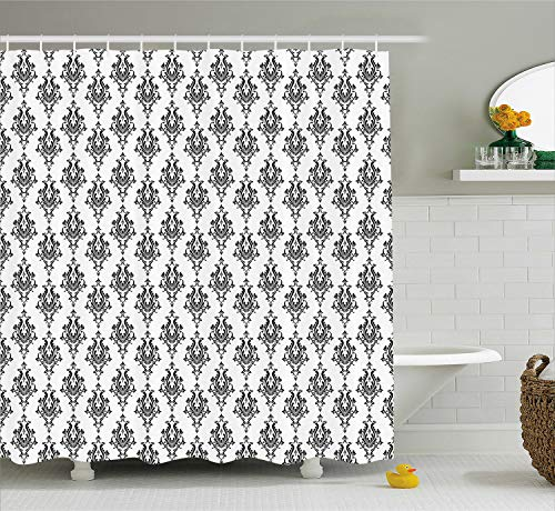 Ambesonne Damask Shower Curtain, Baroque Style Victorian Renaissance Pattern with Effects Vintage Design, Cloth Fabric Bathroom Decor Set with Hooks, 84
