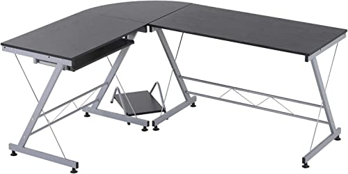 HOMCOM 67 Wood Steel Metal L Shaped Corner Computer Desk
