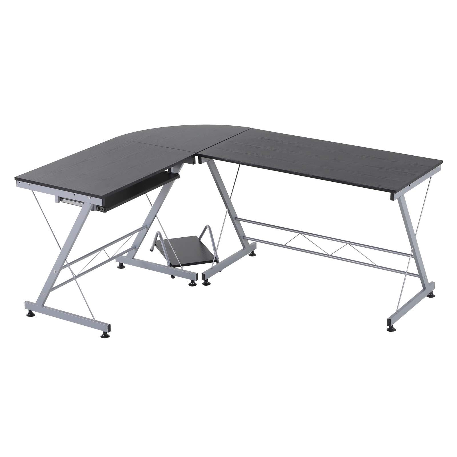 HOMCOM 67'' Wood Steel Metal L Shaped Corner Computer Desk - Black