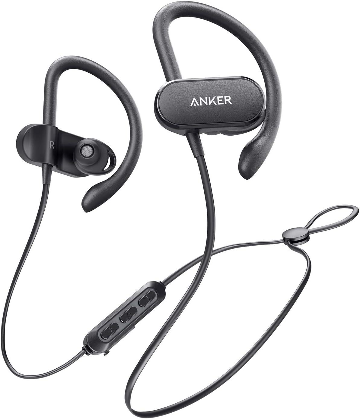 Anker SoundBuds Curve - Auriculares Bluetooth inalámbricos, con Bluetooth 5.0, 18 Horas de duración de la batería, Aislamiento de Ruido CVC, Clase IPX7, Auriculares Deporte