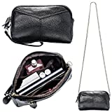 Women's Smartphone Soft Leather Wristlet Purse/Clutch Wallet/Crossbody Bag with Crossbody Strap&Wrist Strap (Black)