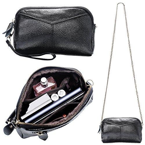 Wristlet Soft Black Purse with Strap Bag Chain Smartphone Wallet Women's Strap Clutch Leather Crossbody Metal amp;Wrist tpwnTgx5qC