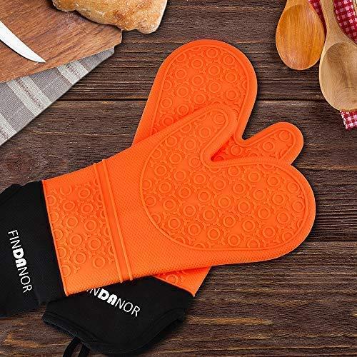 FINDANOR guantes de horno de silicona con forro interior suave 1 par de guantes de horno de chef profesionales extra largos resistentes al calor soporte para ollas y guantes de horneado