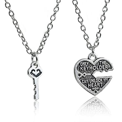 4f8a2a27d3 Amazon.com: SEXY SPARKLES 1 Set Couples Necklace Only The Key Holder Can  Unlock My Heart Broken Heart Key Pendants: Jewelry