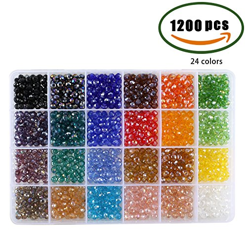 ManYee 1200Pcs 6mm Faceted Bicone Crystal Glass Beads with Container Box For Jewelry Making,DIY Beading Projects, Bracelets, Necklaces, Earrings, 24 Colors