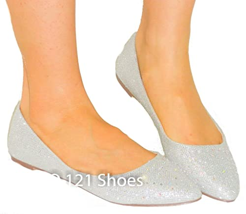 luna-11 Pointy Toe Ballet Flats *Glitter Bling* Pretty Soft Comfortable