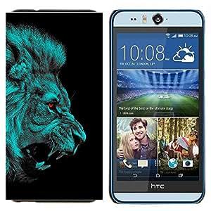 TECHCASE---Cubierta de la caja de protección para la piel dura ** HTC Desire Eye ( M910x ) ** --León Angry Red Eyes Vampire Animal Jungle Cat