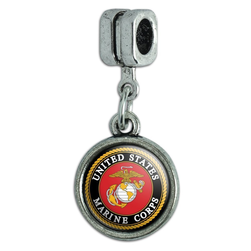 Graphics and More Marines USMC Emblem Black Yellow Red Officially Licensed Italian European Style Bracelet Charm Bead