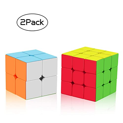 Roxenda Speed, Stickerless Magic Set of 2x2x2 3x3x3 Frosted Puzzle Cube, 2x2 3x3 Stickless
