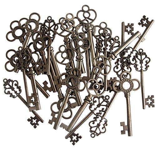 Mixed Set of 30 Vintage Old Look Skeleton Keys Fancy Heart Bow Necklace Pendants (Black)