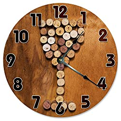 Large 10.5 Wall Clock Decorative Round Wall Clock Home Decor Novelty Clock WINE CORKS WINE GLASS