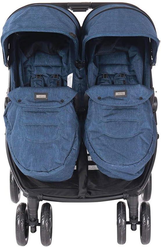 Baby Tandem Double Stroller Twin Pushchair Pram Buggy Kikka Boo Different Design Blue
