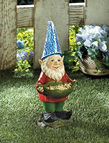 Garden Gnome Charming Birdfeeder Solar Powered Outdoor Accent Glowing Ornament Statue Decoration