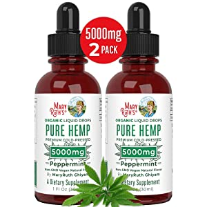 (2 Pack) Organic Pure Hemp Oil Extract 5000mg by MaryRuth's for Pain & Stress Relief - Powerful for Ingestible & Topical Use - Non-GMO - Vegan - Plant Based - Sugar-Free - Peppermint - 1 oz (2 Pack)