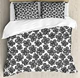 Black and White Duvet Cover Set Queen Size by Ambesonne, Lively Spring Season Inspired Blossoms Abstract Flowers Joyful Nature, Decorative 3 Piece Bedding Set with 2 Pillow Shams, Black White