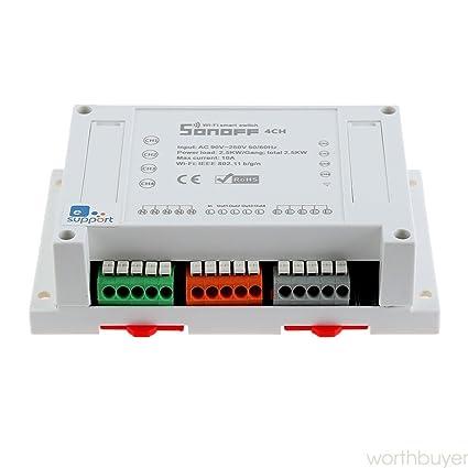 snoff WiFi Smart Switch 4 CH 4 canales DIN Rail Montaje para DIY Smart Home Módulo