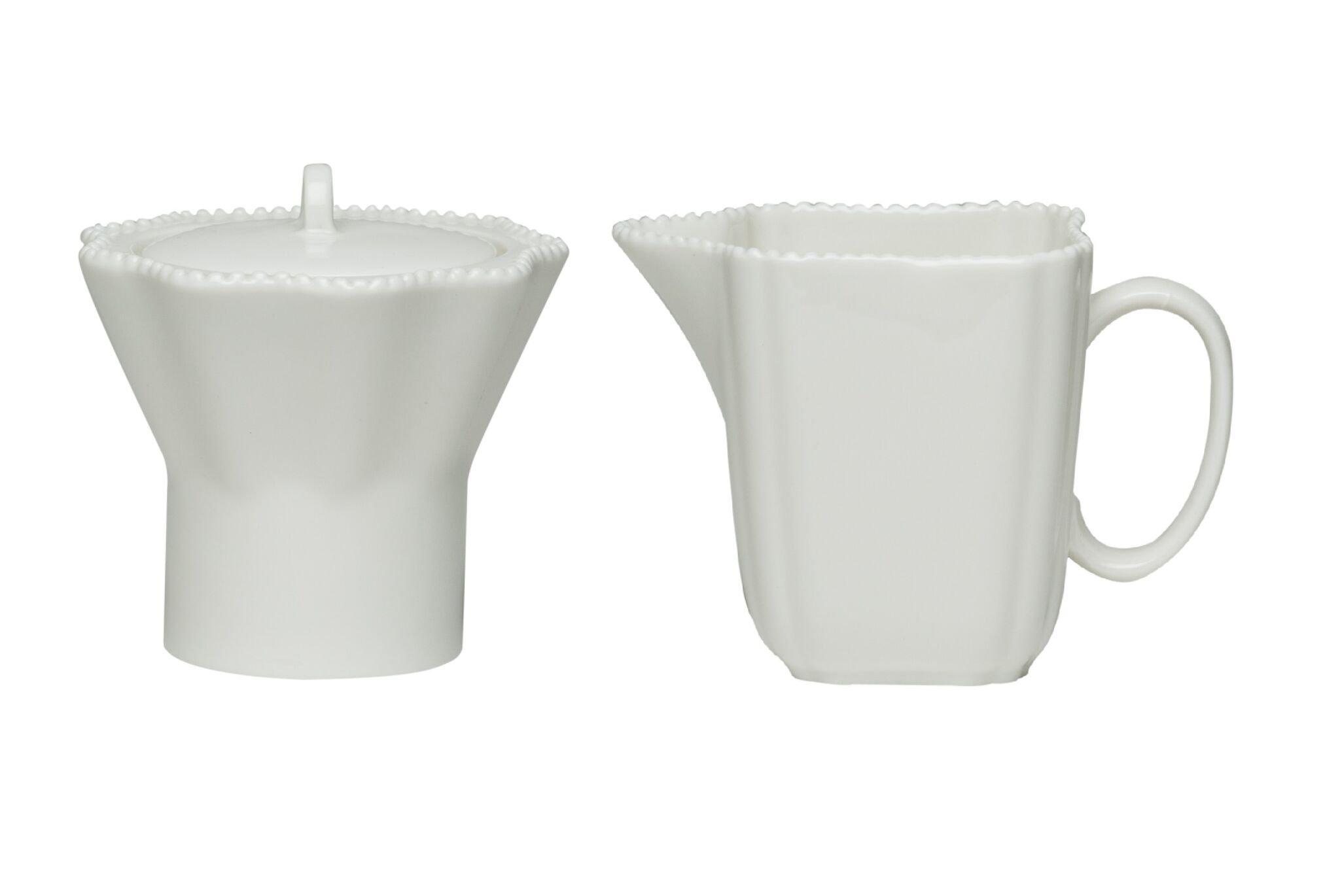 Red Vanilla Pinpoint Covered Sugar Bowl and Creamer Set