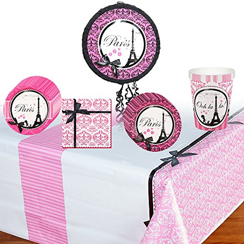 Paris Damask Deluxe Party Supplies Pack Including Plates, Cups, Napkins, Tablecover and Pinata - 8 Guests