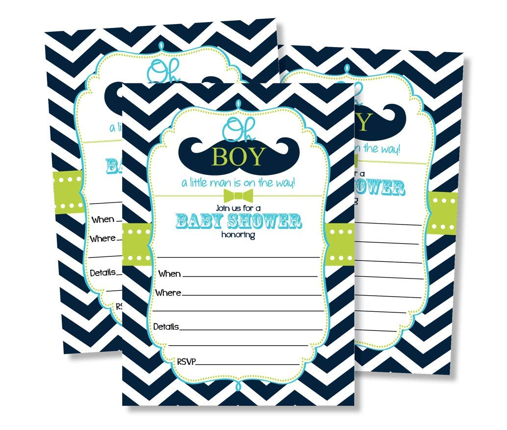 50 Mustache Oh Boy Baby Shower Invitations And Envelopes Large Size 5x7 Little Man Baby