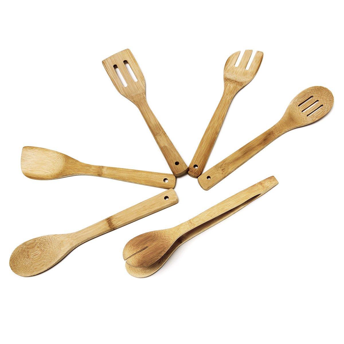 Relaxdays Küchenhelfer Set Bambus 7-teilig 30 cm lang als Kochlöffel ...