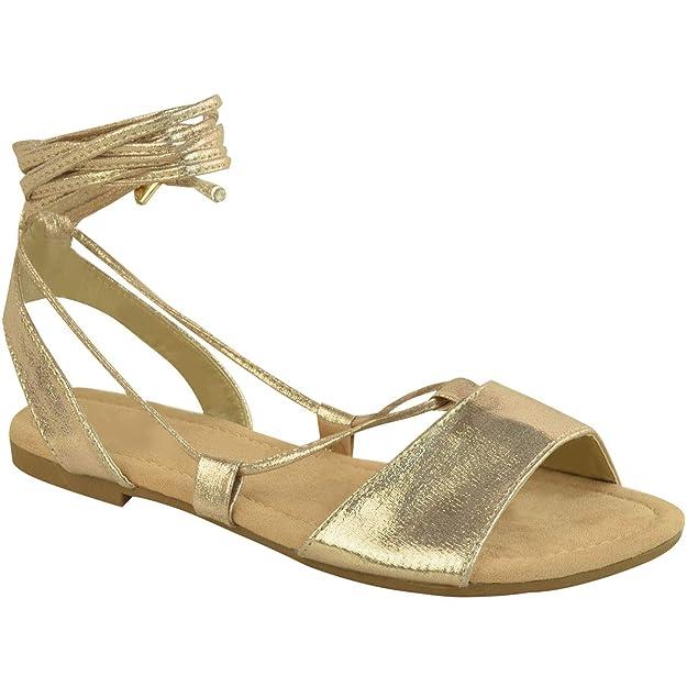 Damen Krawatte Geschnürt Gladiator Sandalen flach Riemchen Sommer metallisch Schuh Größe