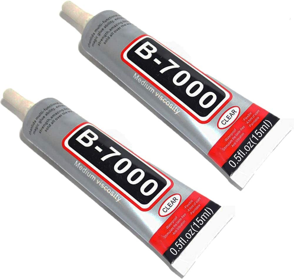15ml B-7000 Adhesive, Multi-Function Glue Paste for DIY Jewelry Smart Phone Electronic Components Toys Glass Wood Rubber Leather Ceramics-2 Packs