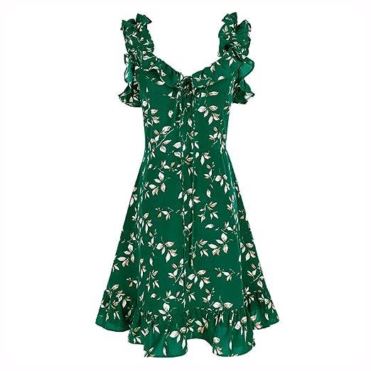 Vestidos Ropa/Mujer Falda De Playa Gasa Verde Floral Falda De ...