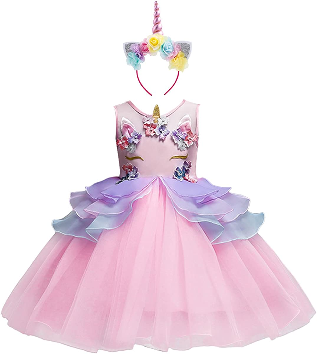 Costume da Principessa Unicorno per Bimba con Vestito Lungo Compleanno Ballerina Abiti Bambini Carnevale Halloween Cosplay Abito Arcobaleno Festa Cerimonia Nozze Sera Pageant Battesimo Fiore Ragazze