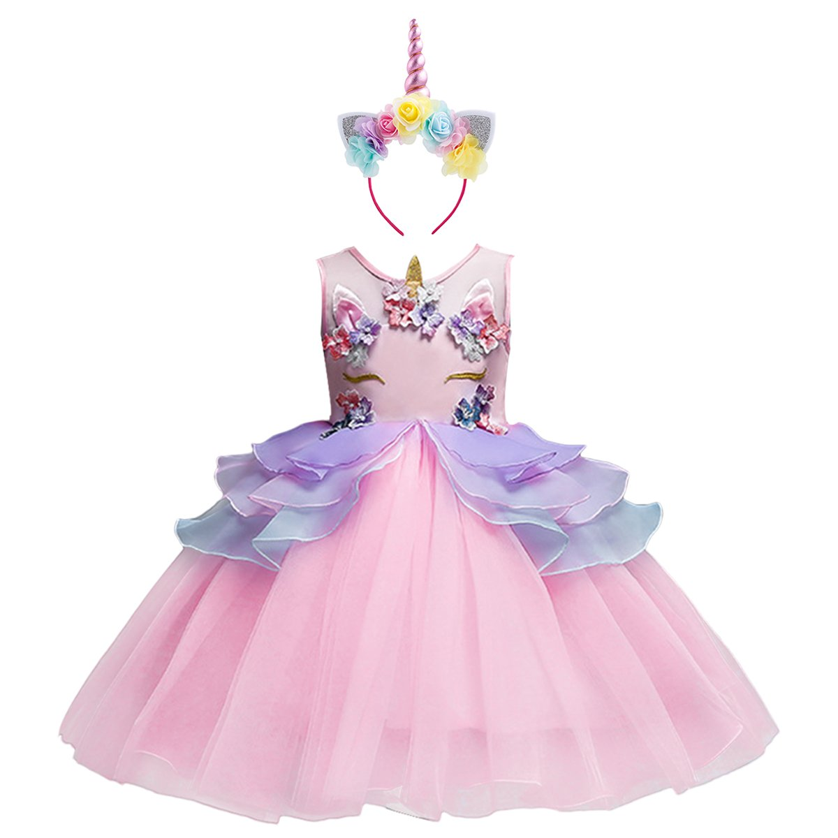 Girls Unicorn Dress up Costume Princess Dressing Gown Tutu Skirt Headband Birthday Party Outfits for Kids Pageant Wedding Casual Photography Pink 7-8 Years