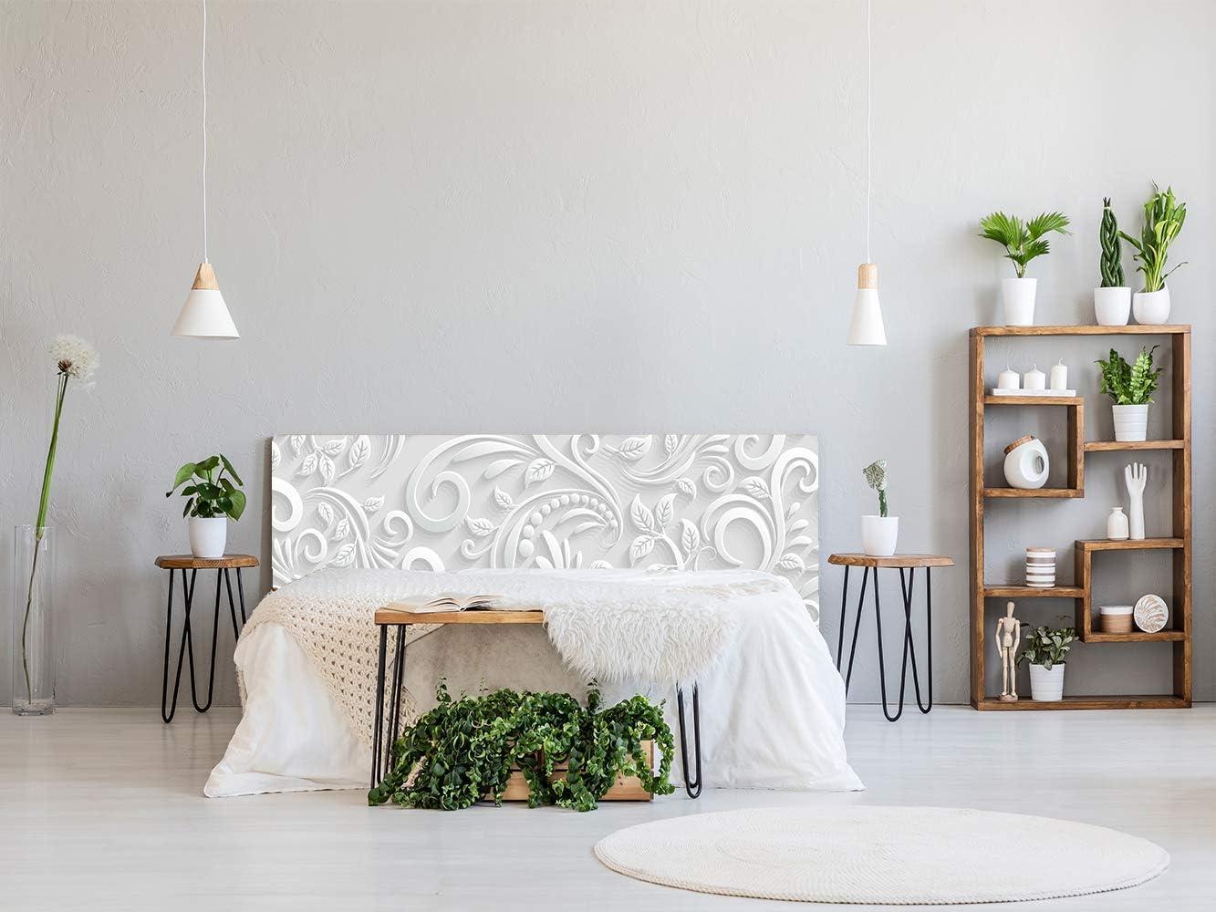 Oedim - Cama PVC Estampado Blanco 150x60cm | Disponible en Varias Medidas | Cabecero Ligero, Elegante, Resistente y Económico