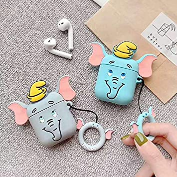 TONVER Cartoon Airpods Case Azul 3D Cute Cartoon Elephant con patr/ón de Sombrero Funda Protectora de Silicona y Piel con Hebilla para Apple Airpods 1 y 2 Estuche de Carga