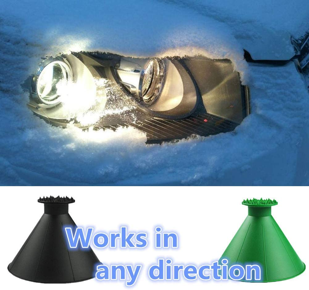 Smile 2 Pack Magical Car Ice Scraper Removal Green Portable Ice/&Snow Remover Deicer Removal Wiper Funnel Tool in Winter for Rearview Mirror//Car//Bus//Truck Cone-Shaped Round Windshield Ice Scraper