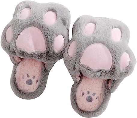 Luoem Zapatillas De Estar Por Casa Zapatillas Peluche Invierno Antideslizante Pantuflas Zapatillas Garras De Animal Mujer Patas Gato Gris Claro Amazon Es Zapatos Y Complementos