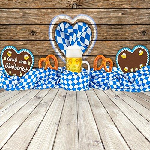 CSFOTO 8x8ft Background for Oktoberfest Beer Pretzel Gingerbread Heart in Bavarian Flag on Wooden Photography Backdrop Rustic Wood Bavaria Munich Beer Garden Photo Studio Props Vinyl Wallpaper -